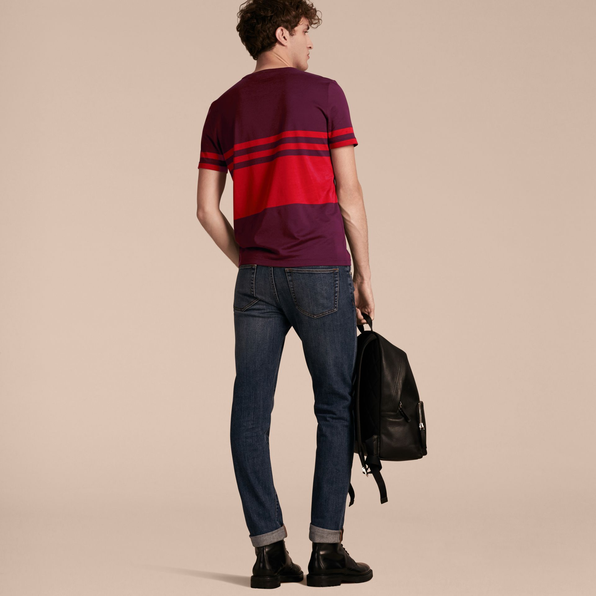 Maroon purple Stripe Print Cotton T-shirt Maroon Purple - gallery image 3