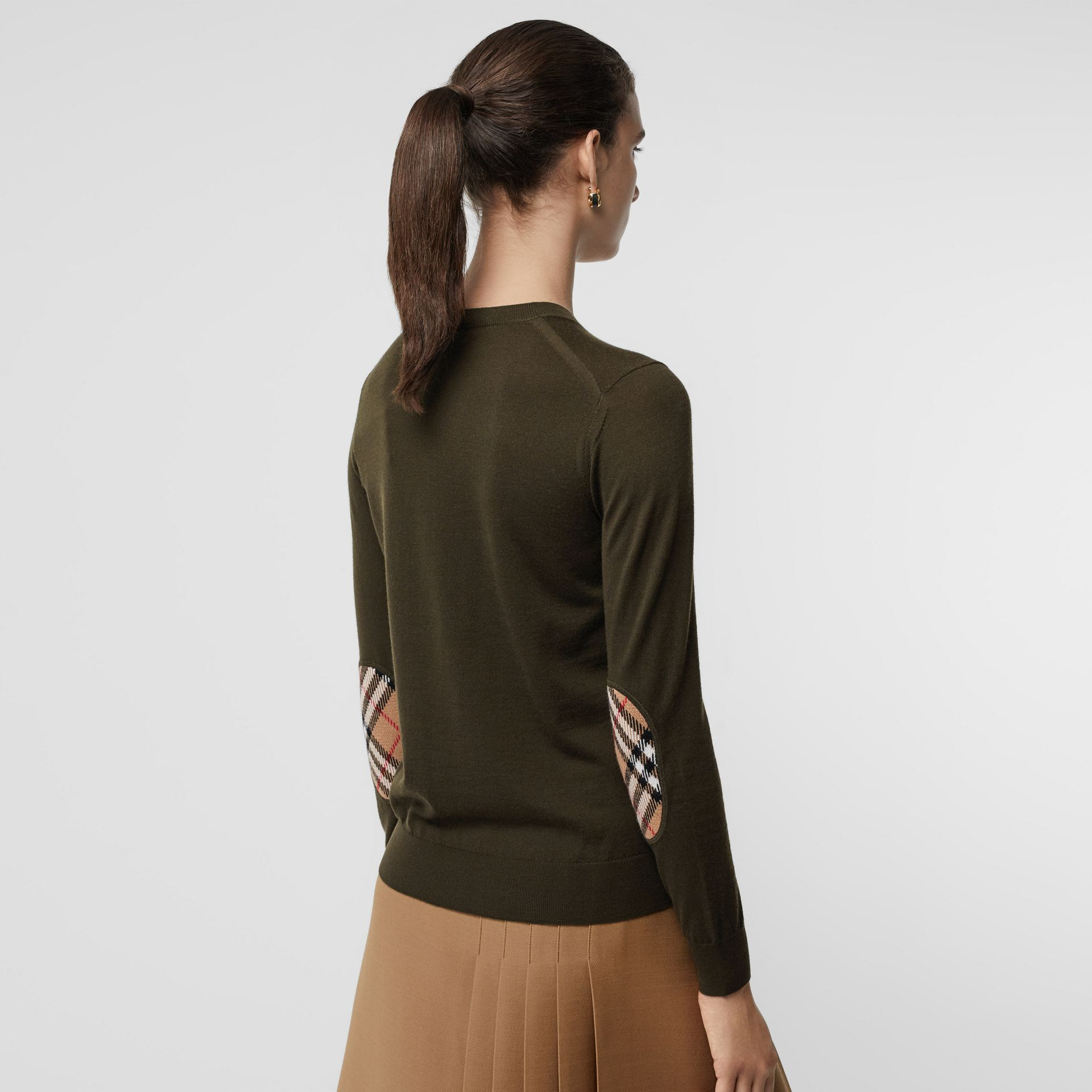 Vintage Check Detail Merino Wool Sweater in Dark Olive - Women | Burberry - gallery image 4