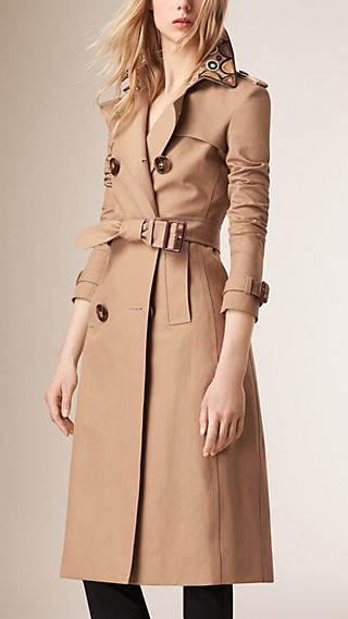 Embroidered Collar Cotton Trench Coat
