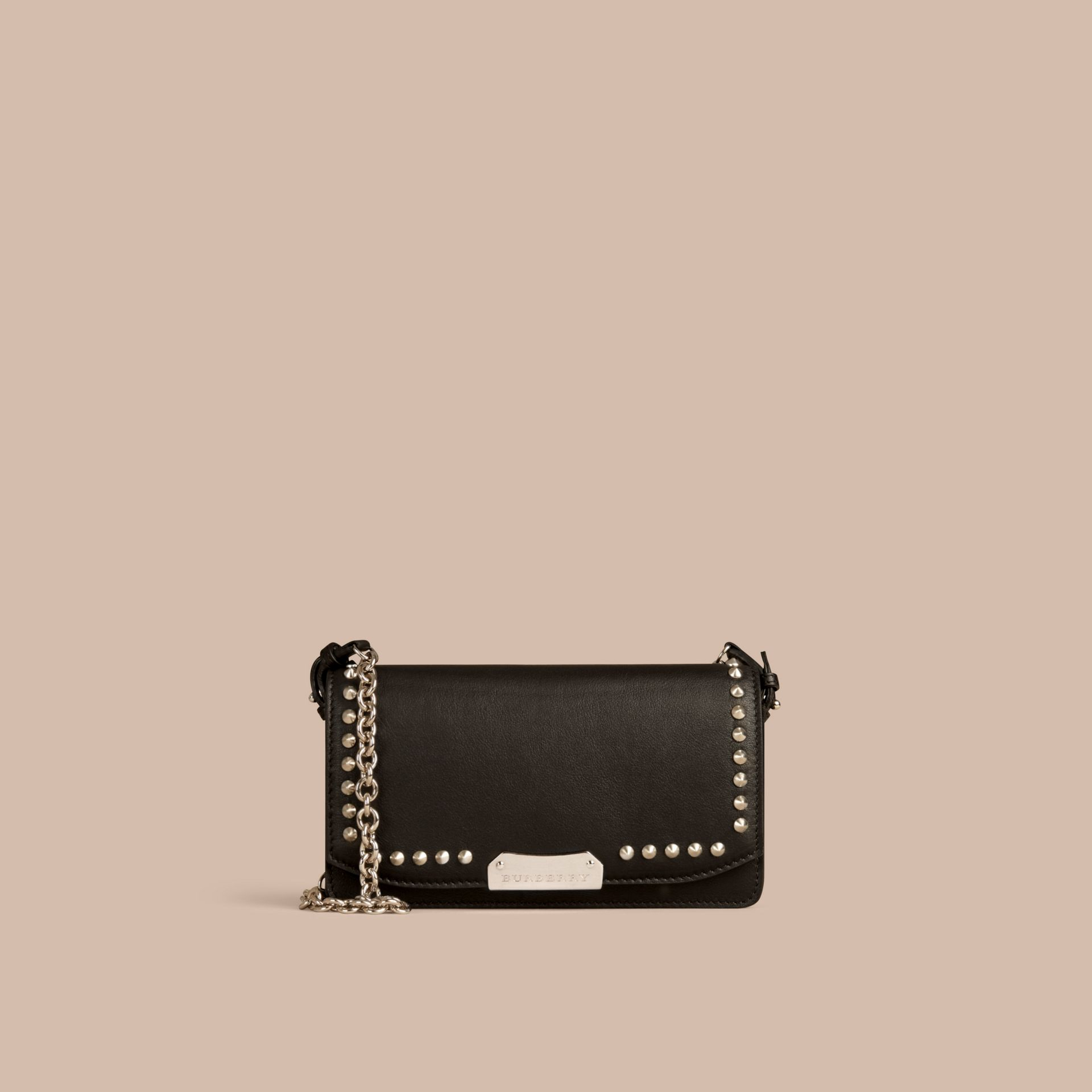Black Studded Leather Clutch Bag with Chain - gallery image 8