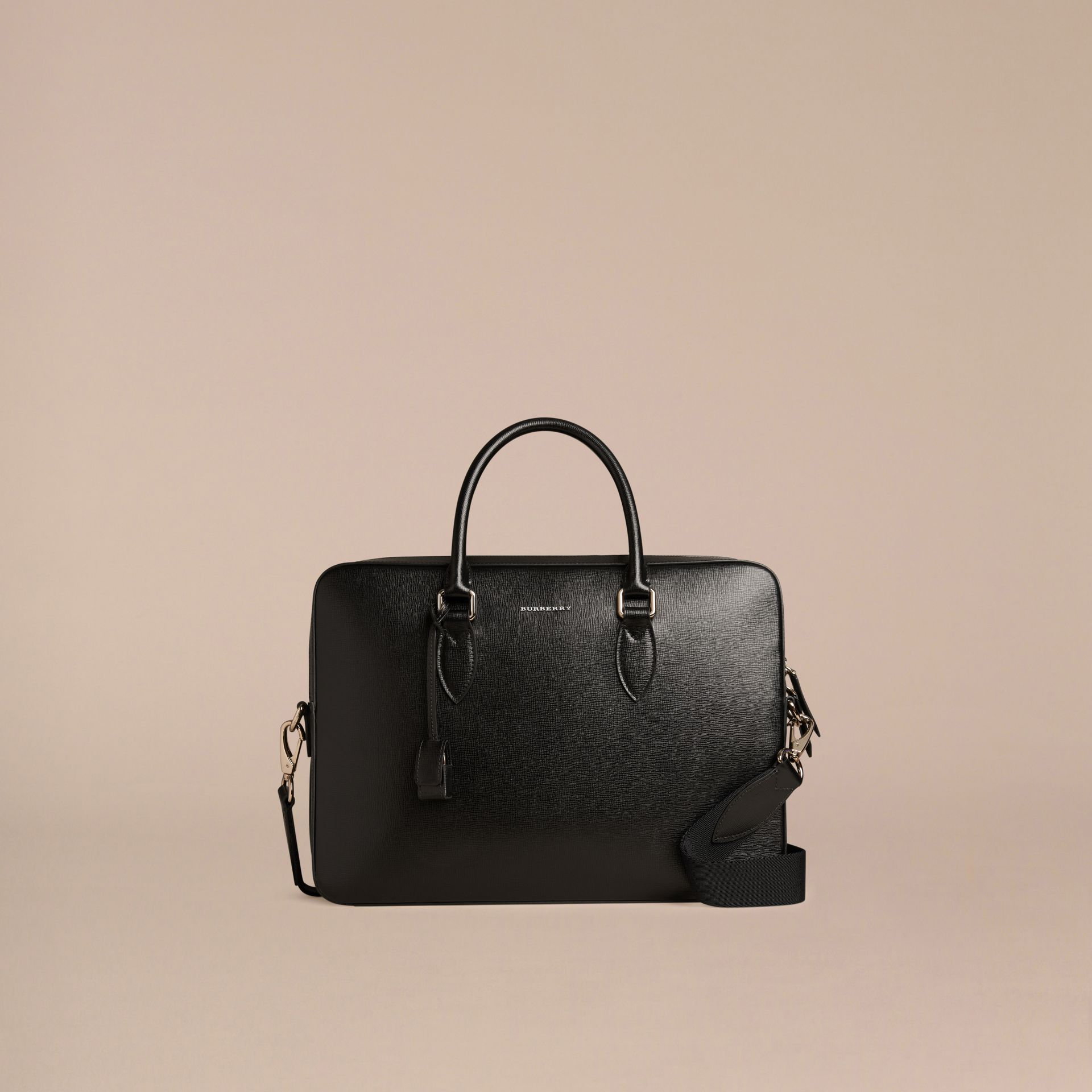 London Leather Briefcase in Black - Men | Burberry Singapore - gallery image 7