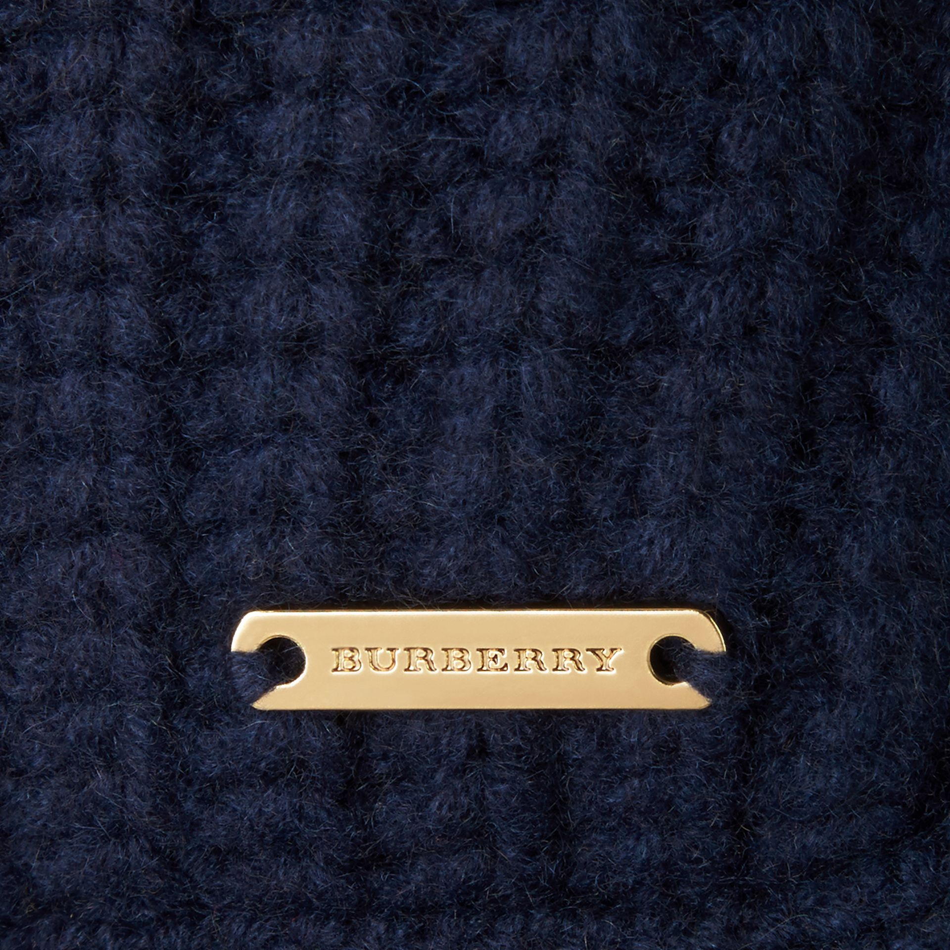 Navy Knitted Cashmere Cushion Cover Navy - gallery image 2
