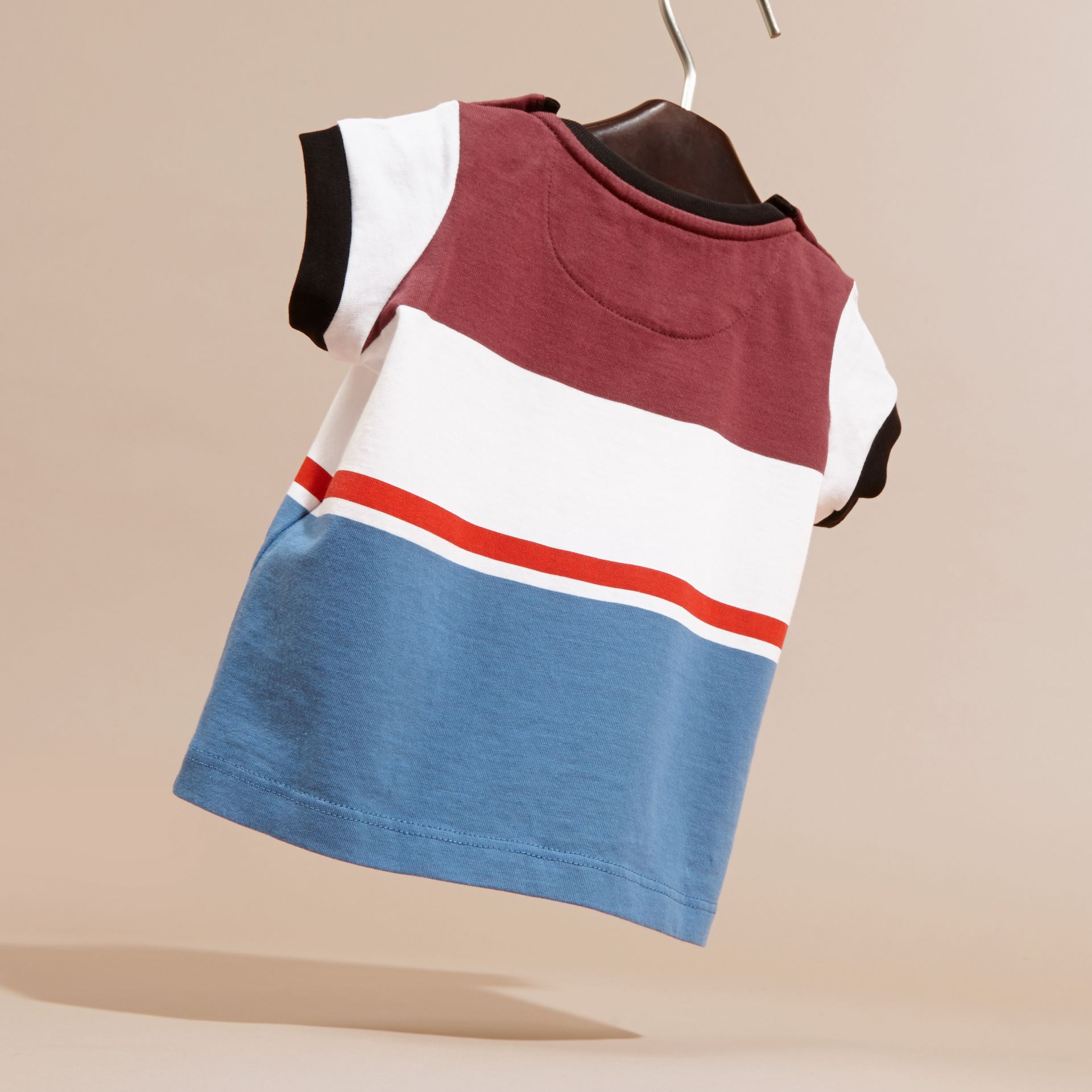 Multi Stripe Cotton T-shirt Claret - gallery image 4