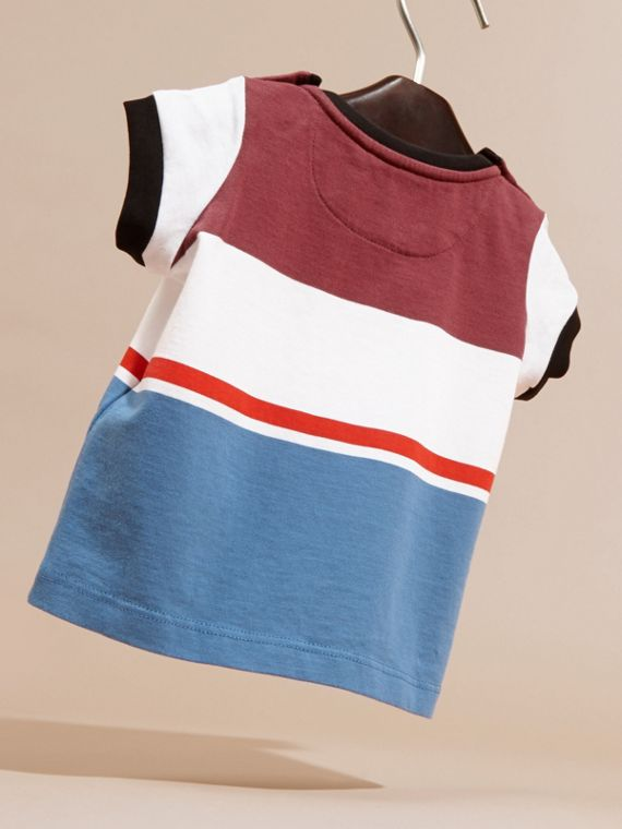 Multi Stripe Cotton T-shirt in Claret - cell image 3
