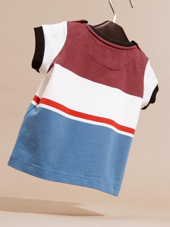 Camiseta de algodão com múltiplas listras Vermelho Claret - cell image 3