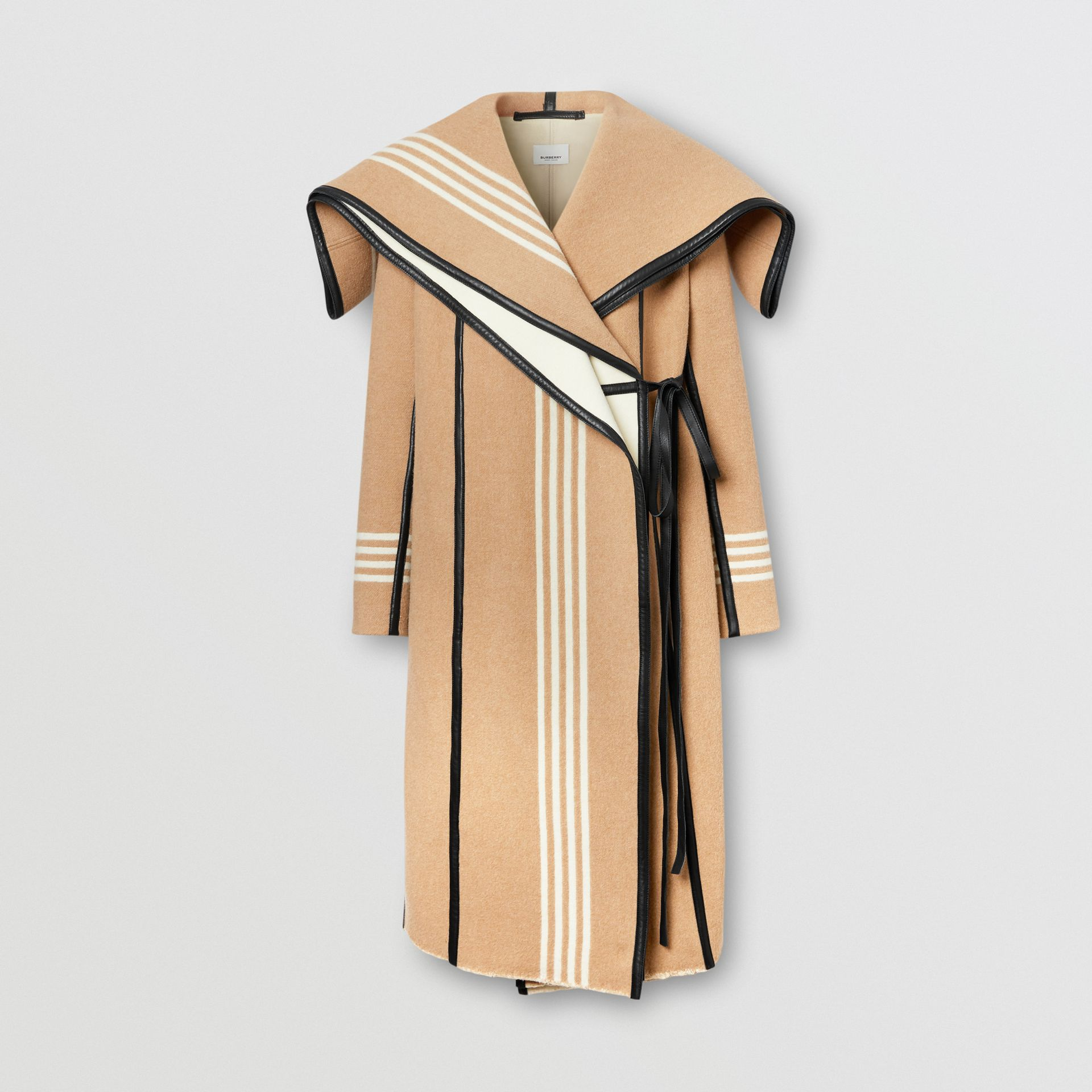 Lambskin Trim Striped Wool Wrap Coat in Camel - Women | Burberry - gallery image 3