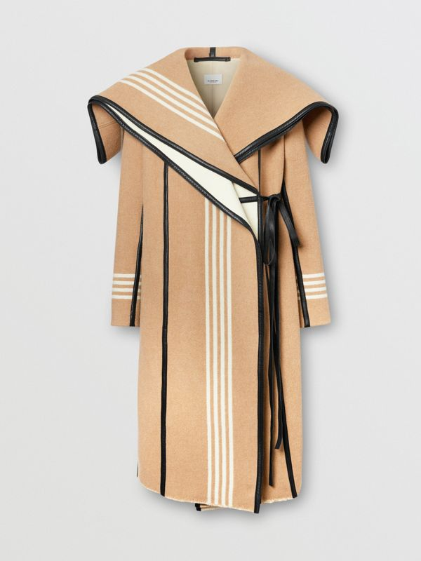 Lambskin Trim Striped Wool Wrap Coat in Camel - Women | Burberry - cell image 3