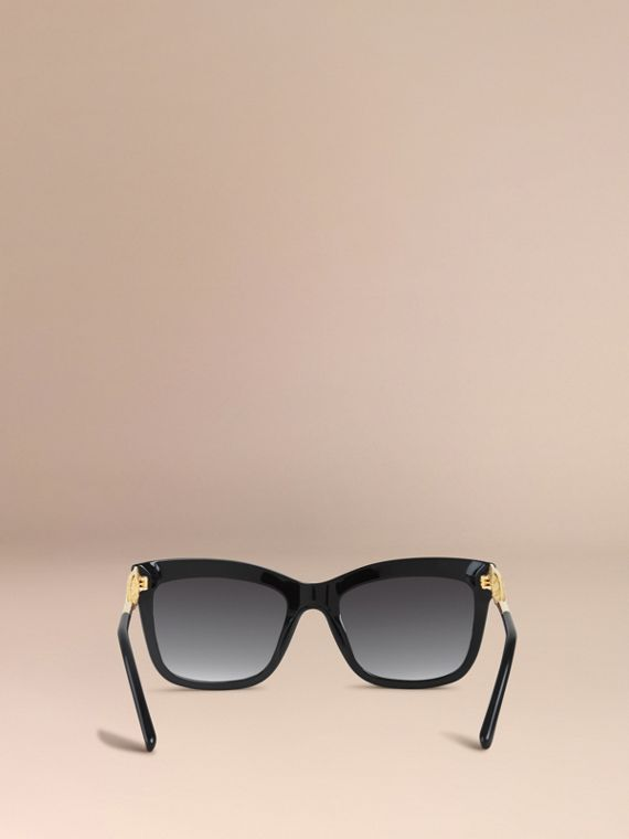 Black Gabardine Lace Collection Square Frame Sunglasses Black - cell image 3