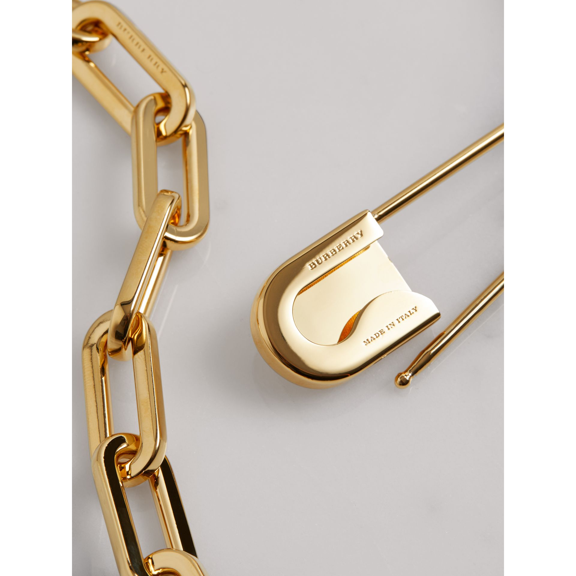 Kilt Pin Gold-plated Long Link Drop Necklace in Light - Women | Burberry - gallery image 2