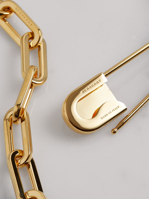 Kilt Pin Gold-plated Long Link Drop Necklace in Light - Women | Burberry - cell image 3