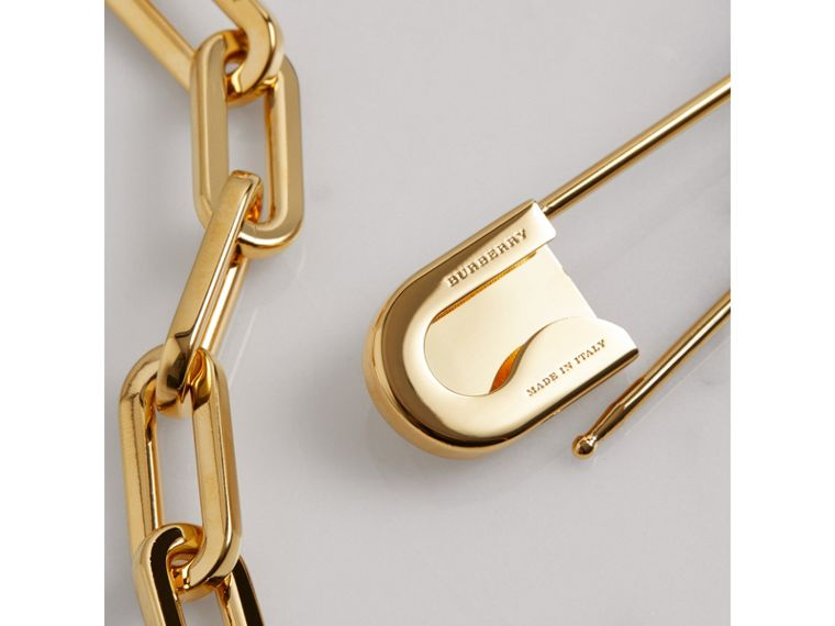 Kilt Pin Gold-plated Long Link Drop Necklace in Light - Women | Burberry - cell image 2