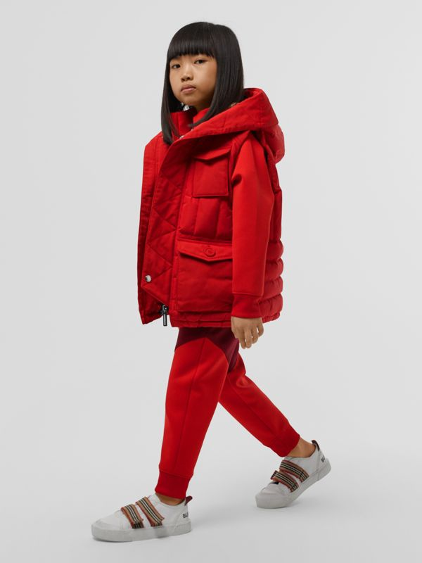 Down-filled Hooded Puffer Gilet in Bright Red | Burberry - cell image 2
