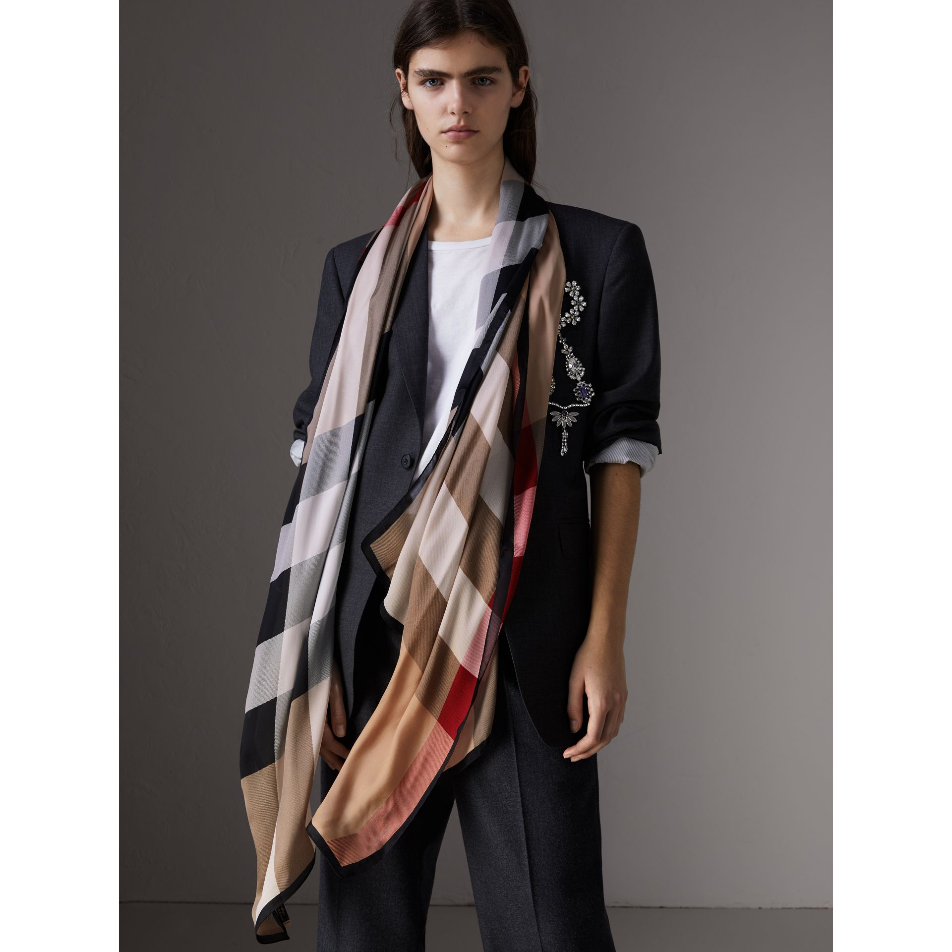 Lightweight Check Silk Scarf in Camel - Women | Burberry Canada - gallery image 2
