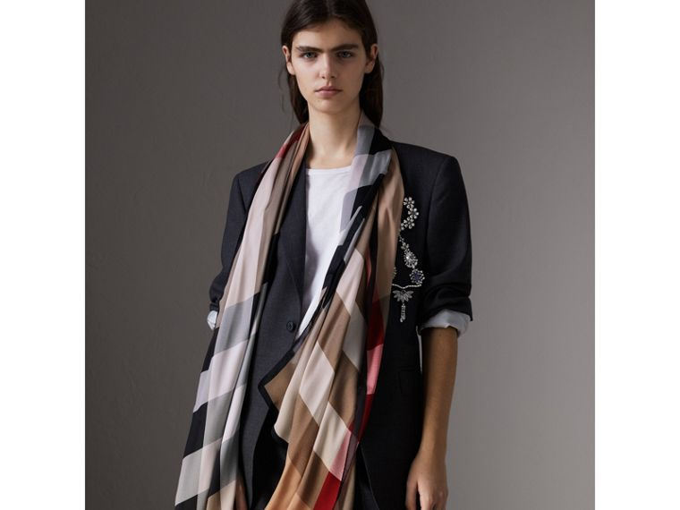 Lightweight Check Silk Scarf in Camel - Women | Burberry Canada - cell image 2
