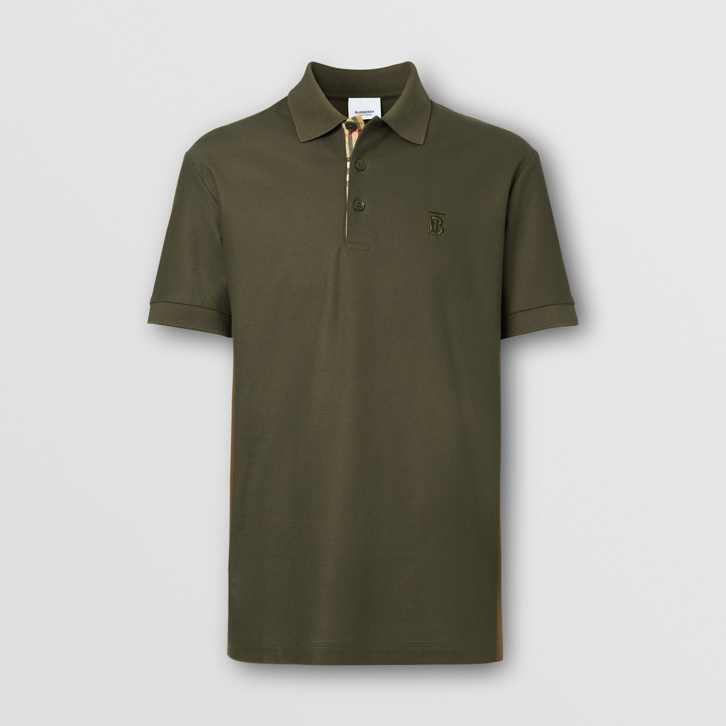 Monogram Motif Cotton Piqué Polo Shirt in Dark Olive - Men | Burberry - 4