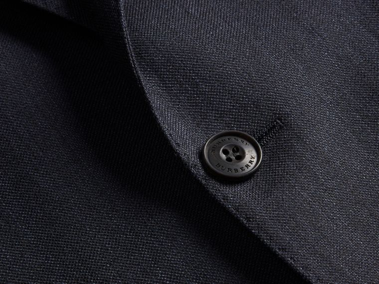 Dark navy Modern Fit Linen Wool Silk Jacket - cell image 1