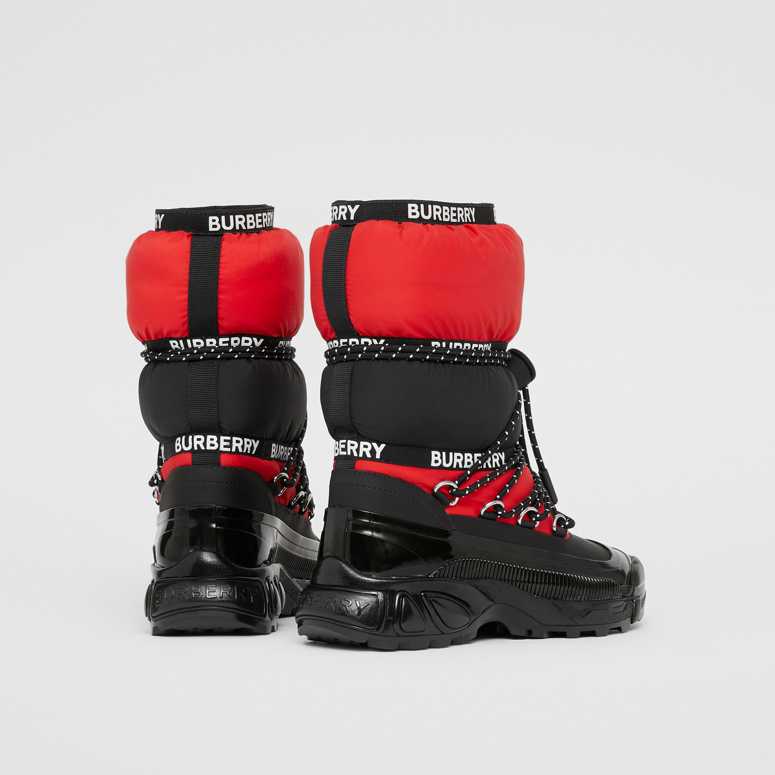 Logo Tape Colour Block Snow Boots in Black/bright Red - Children | Burberry - 3