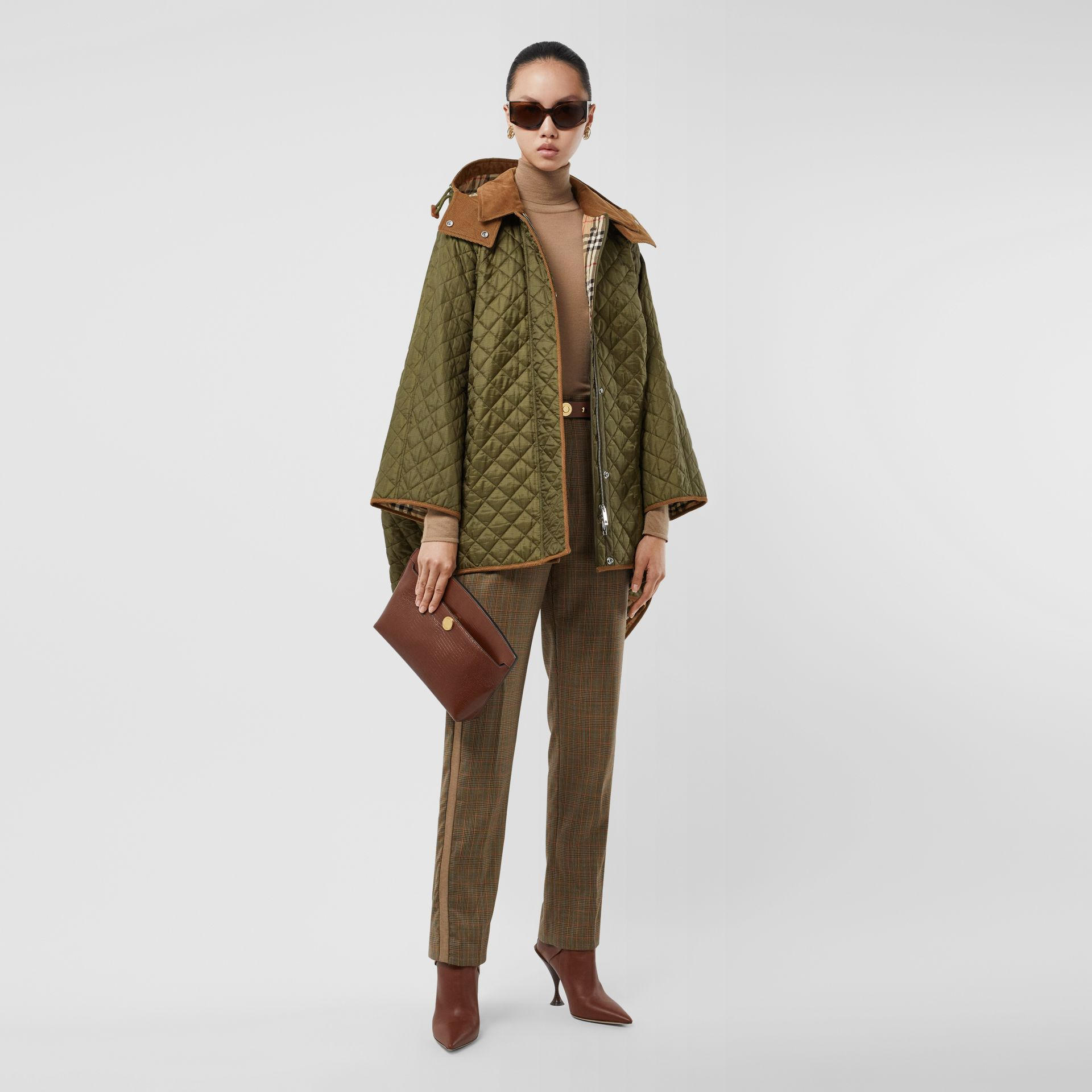 Corduroy Trim Quilted Hooded Cape in Military Olive - Women   Burberry United States - gallery image 0