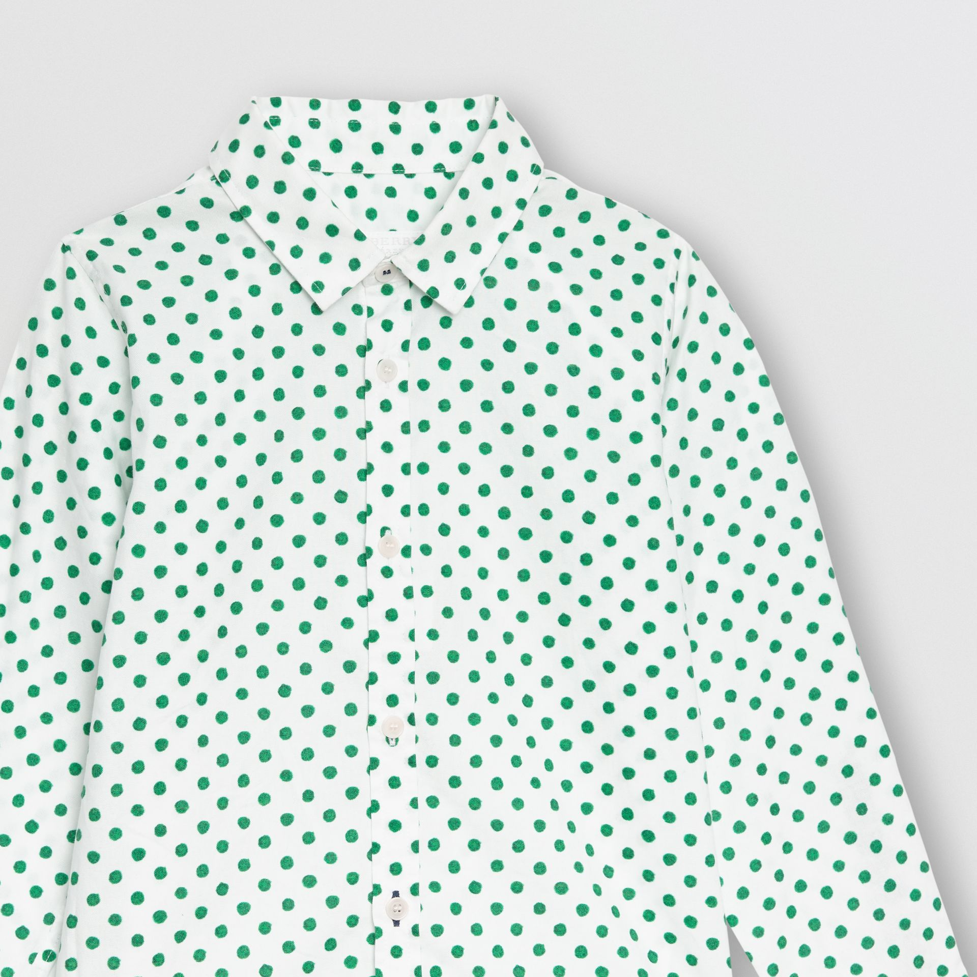 Polka Dot Cotton Oxford Shirt in Emerald Green | Burberry United Kingdom - gallery image 4