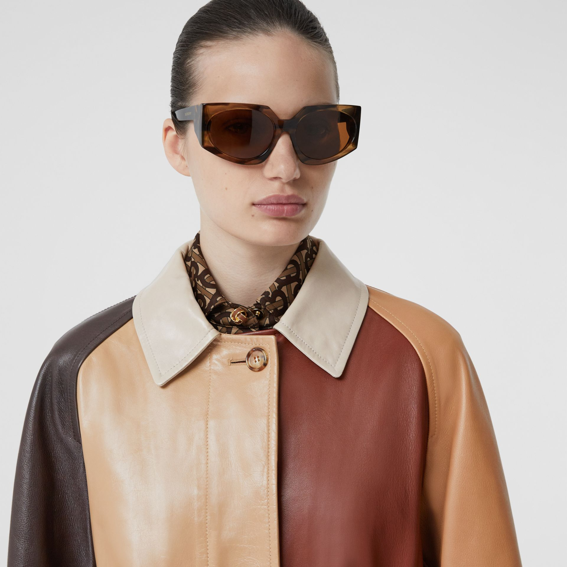 Patchwork Lambskin and Leather Car Coat in Biscuit - Women | Burberry - gallery image 1