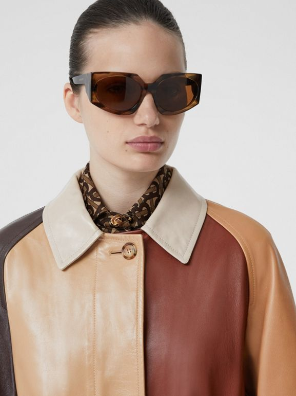 Patchwork Lambskin and Leather Car Coat in Biscuit - Women | Burberry - cell image 1