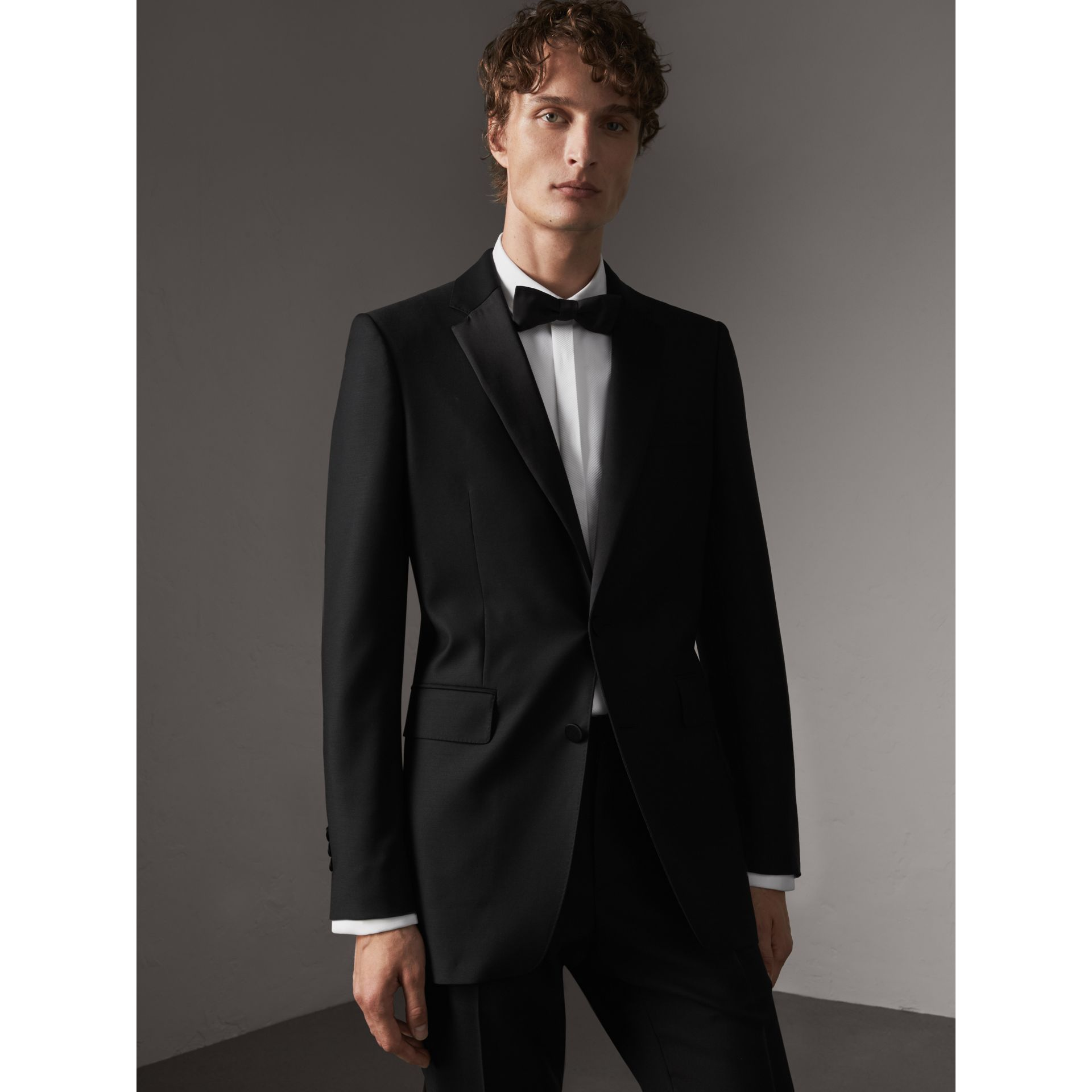 Modern Fit Wool Mohair Half-canvas Tuxedo in Black - Men | Burberry - gallery image 7