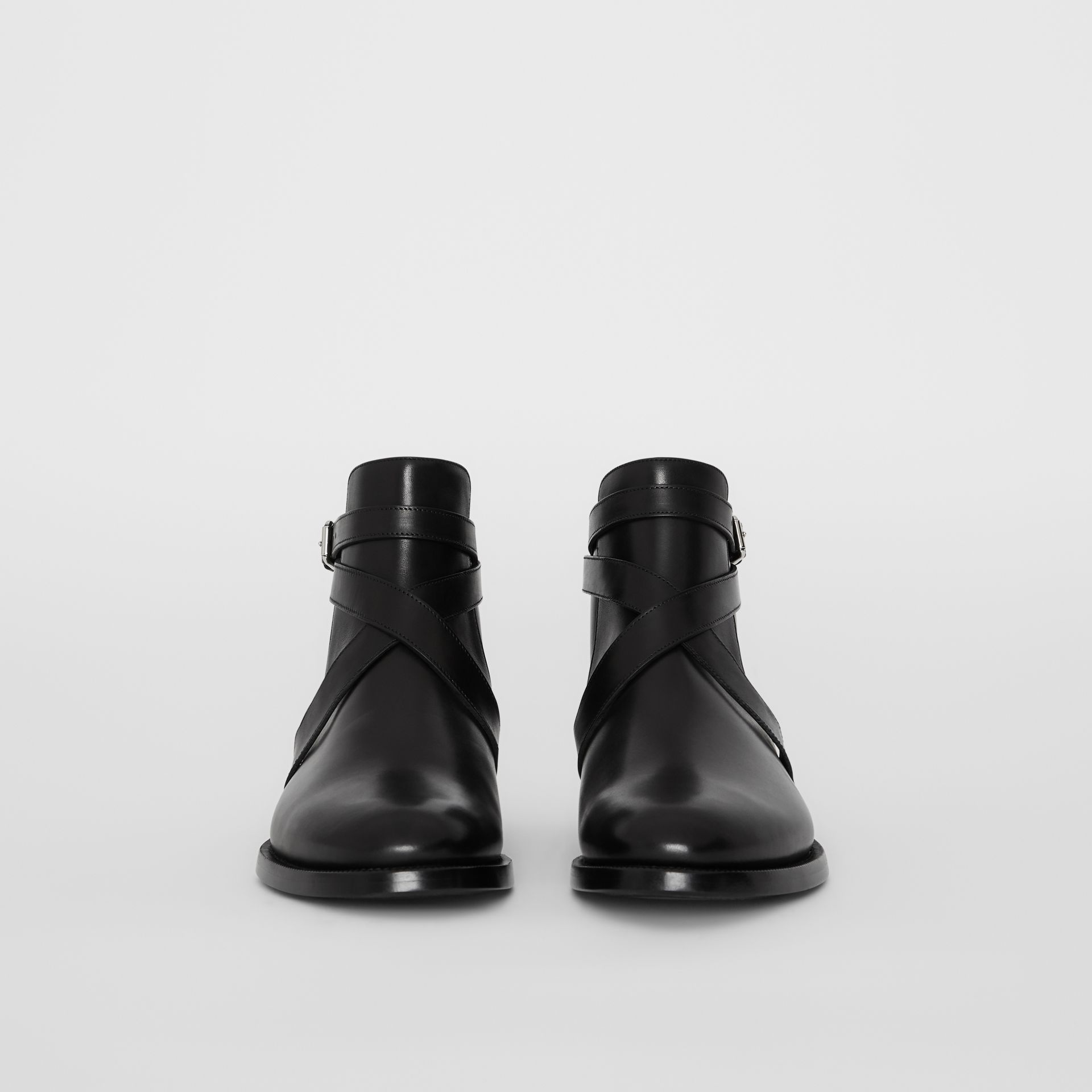 Strap Detail Leather Ankle Boots in Black - Men | Burberry - gallery image 3