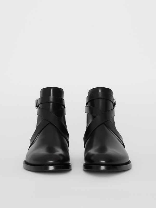 Strap Detail Leather Ankle Boots in Black - Men | Burberry - cell image 3