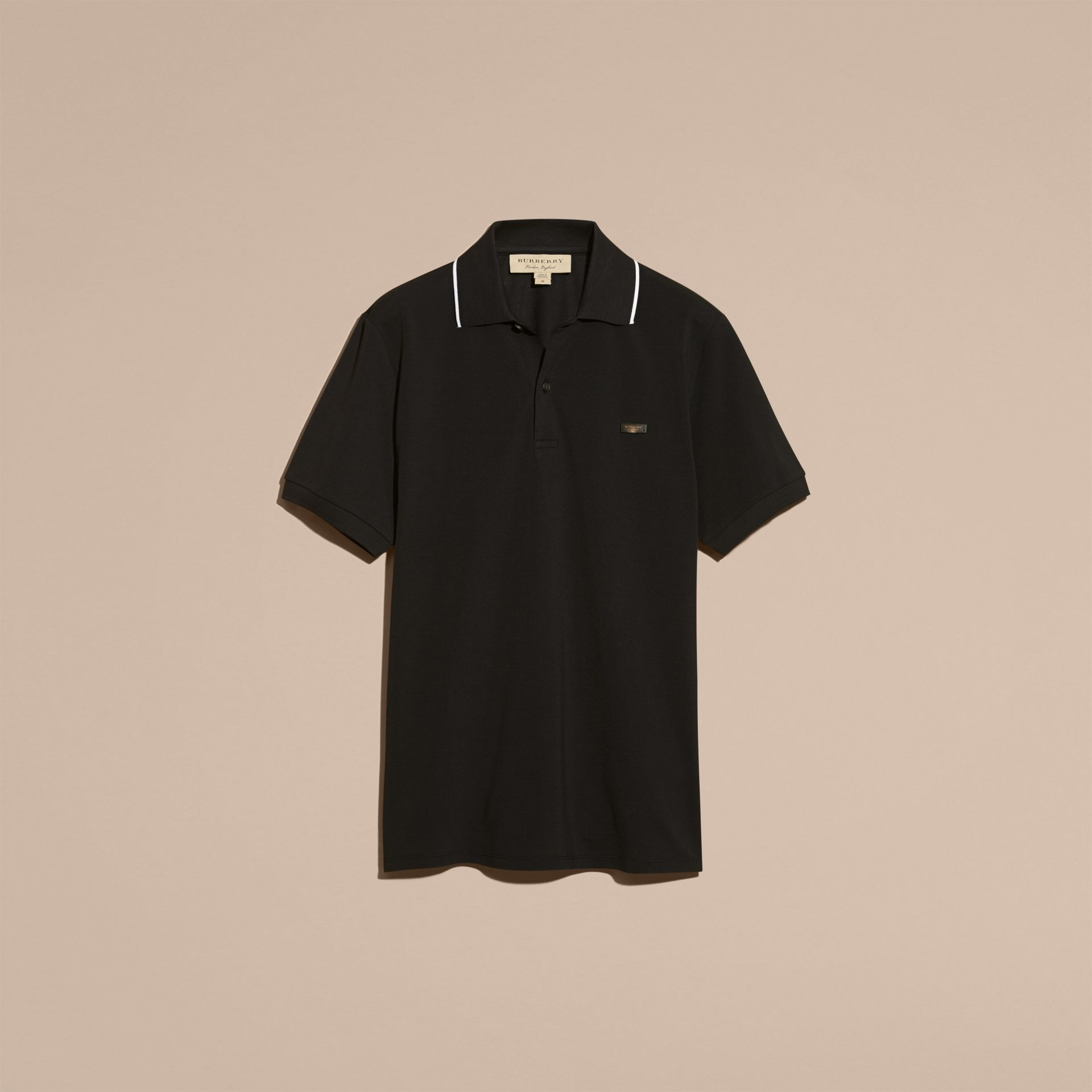 Tipped Collar Cotton Piqué Polo Shirt in Black - gallery image 4