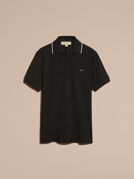 Tipped Collar Cotton Piqué Polo Shirt in Black - cell image 3