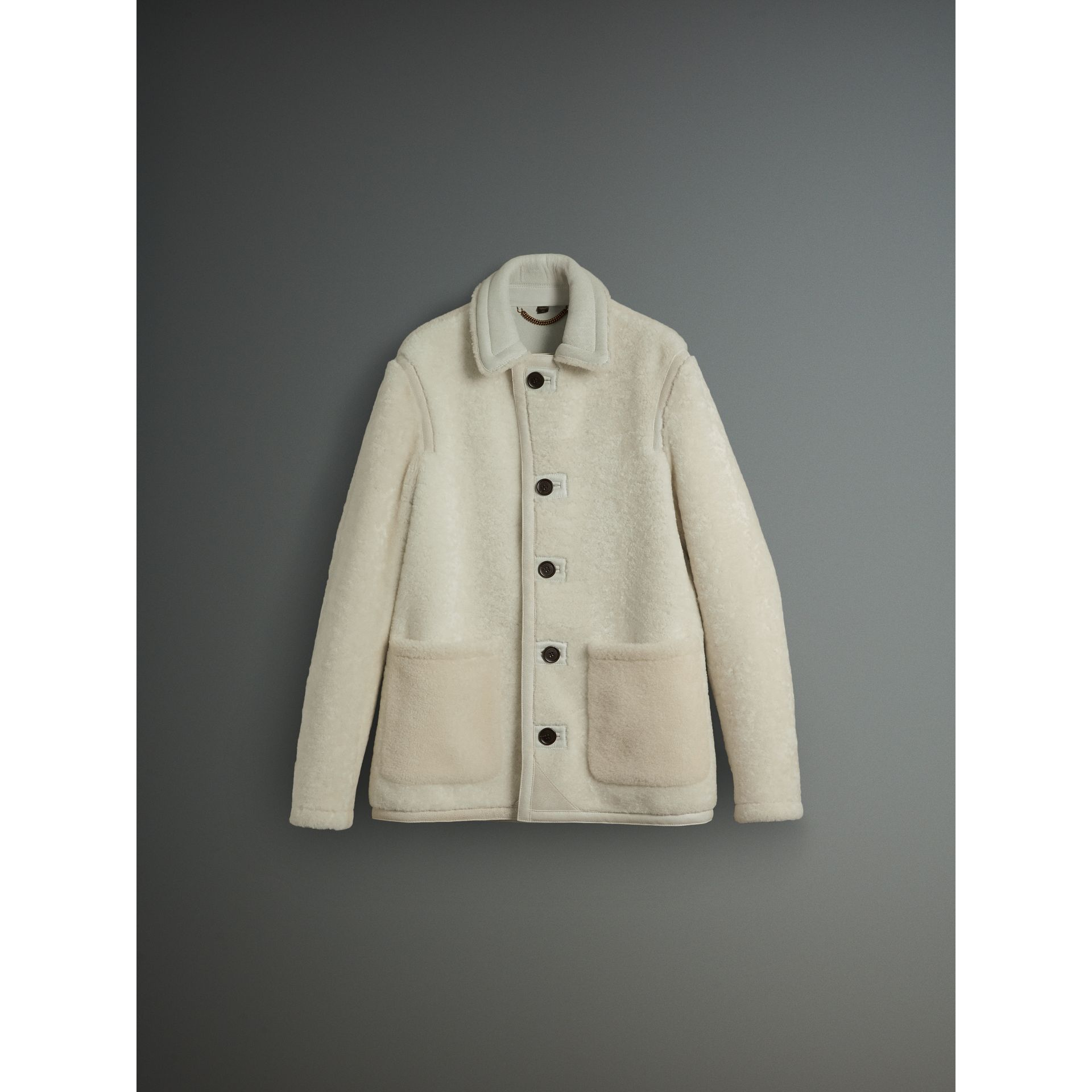 Veste en shearling (Blanc) - Homme | Burberry - photo de la galerie 3