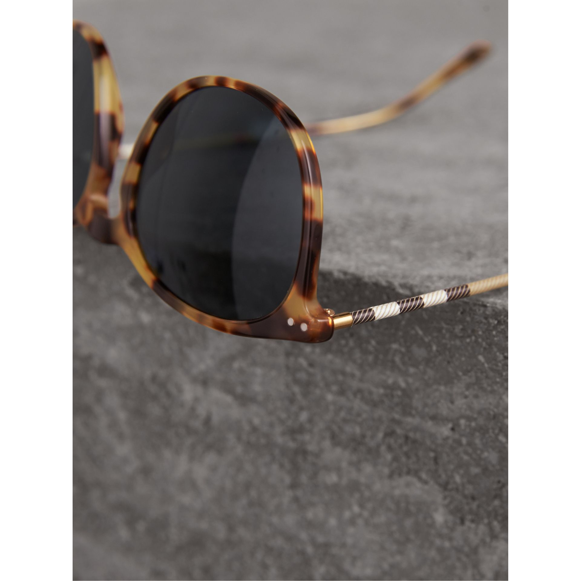 Check Detail Round Frame Sunglasses in Dark Brown - Men | Burberry - gallery image 1