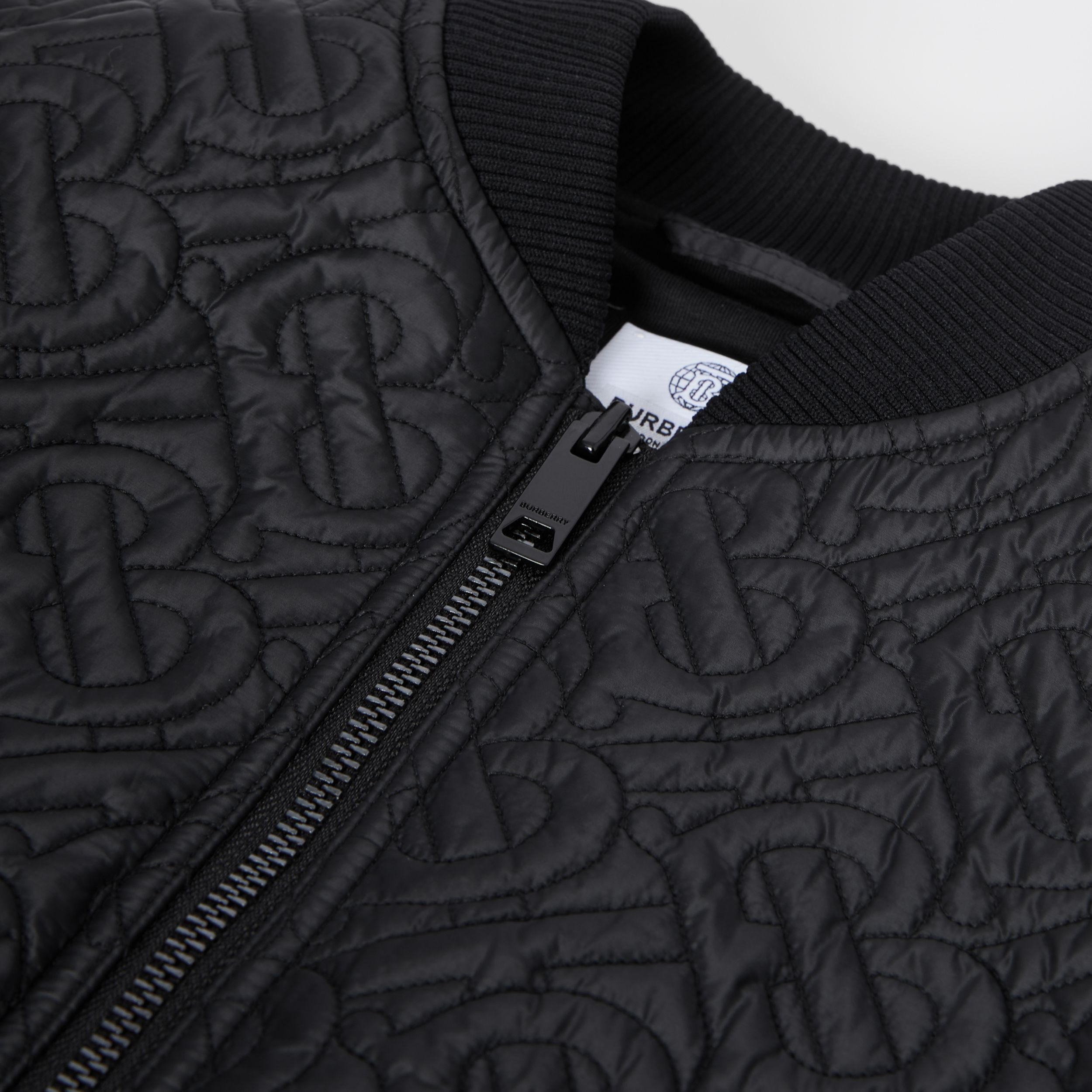 Monogram Quilted Recycled Polyester Bomber Jacket in Black | Burberry - 2