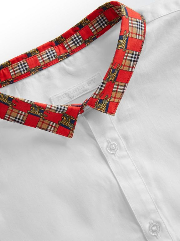 Short-sleeve Tiled Archive Print Collar Cotton Shirt in White | Burberry - cell image 1