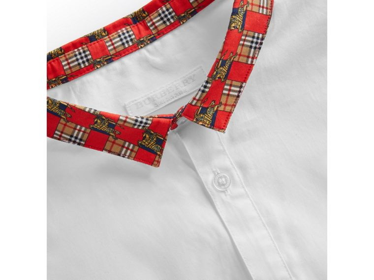 Short-sleeve Tiled Archive Print Collar Cotton Shirt in White - Boy | Burberry Hong Kong - cell image 1