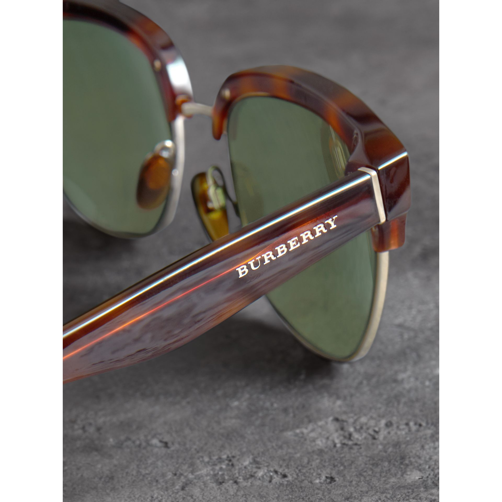 D-frame Sunglasses in Tortoise Shell - Men | Burberry - gallery image 1