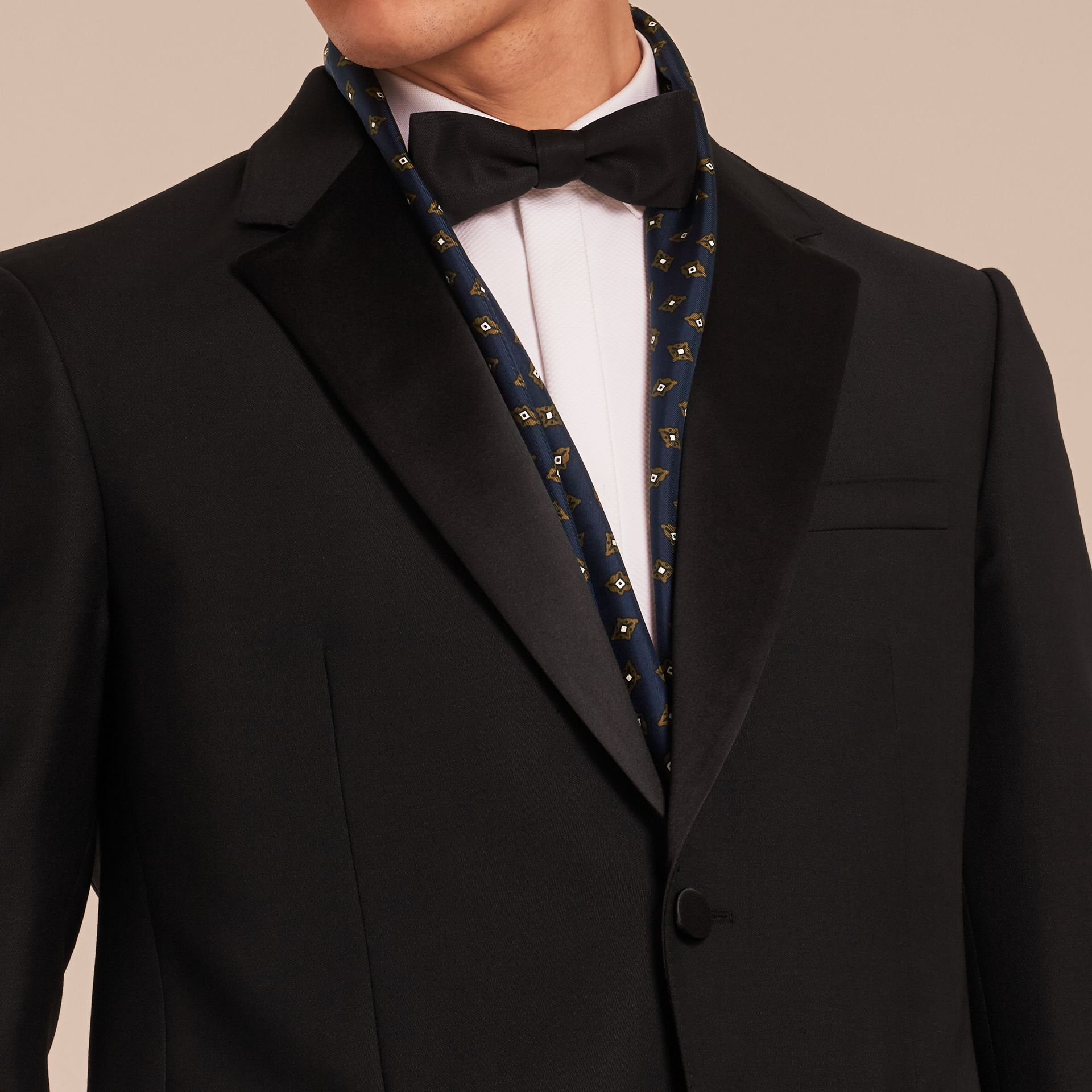 Black Classic Fit Wool Mohair Part-canvas Tuxedo - gallery image 5