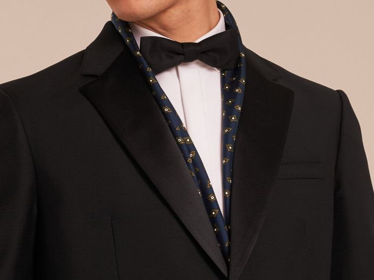 Black Classic Fit Wool Mohair Part-canvas Tuxedo - cell image 4