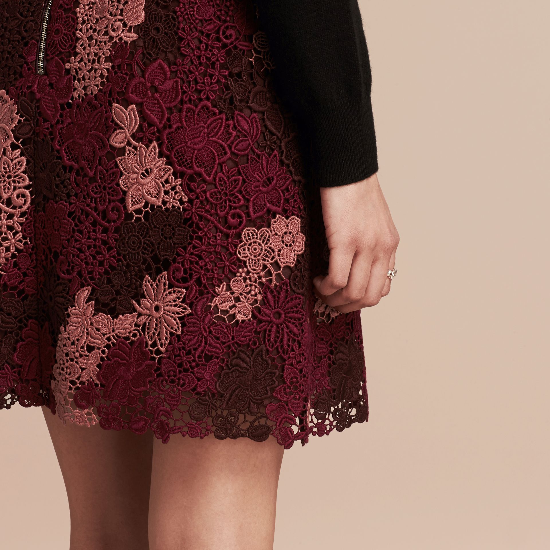 Deep claret Floral Italian Macramé Lace Skirt - gallery image 5