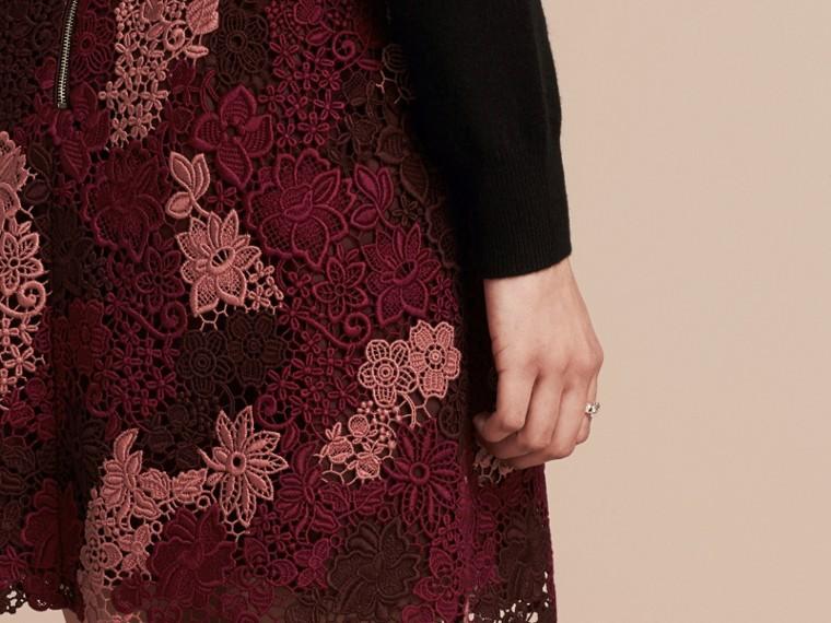Deep claret Floral Italian Macramé Lace Skirt - cell image 4
