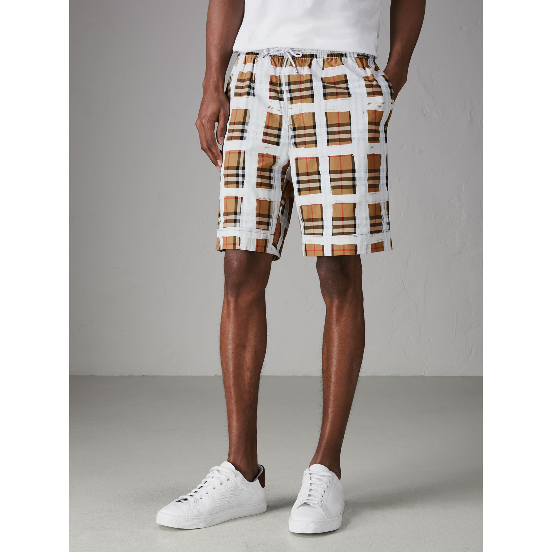 Painted Vintage Check Cotton Drawcord Shorts in Antique Yellow - Men | Burberry - gallery image 4