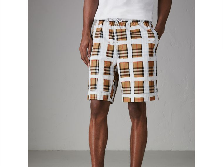 Painted Vintage Check Cotton Drawcord Shorts in Antique Yellow - Men | Burberry Hong Kong - cell image 4
