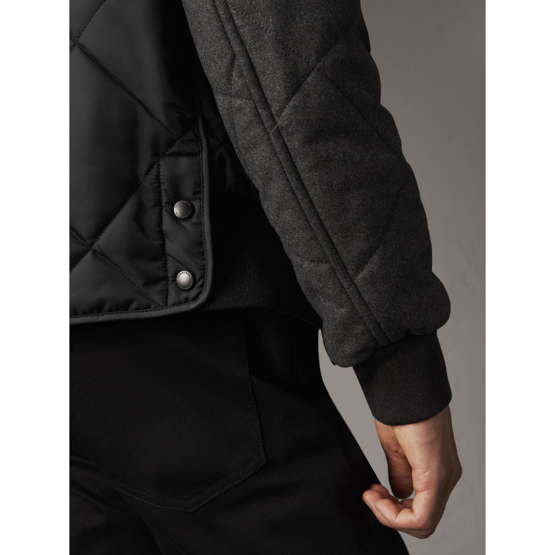 Packaway Hood Wool-sleeve Quilted Bomber Jacket in Black - Men | Burberry - gallery image 5
