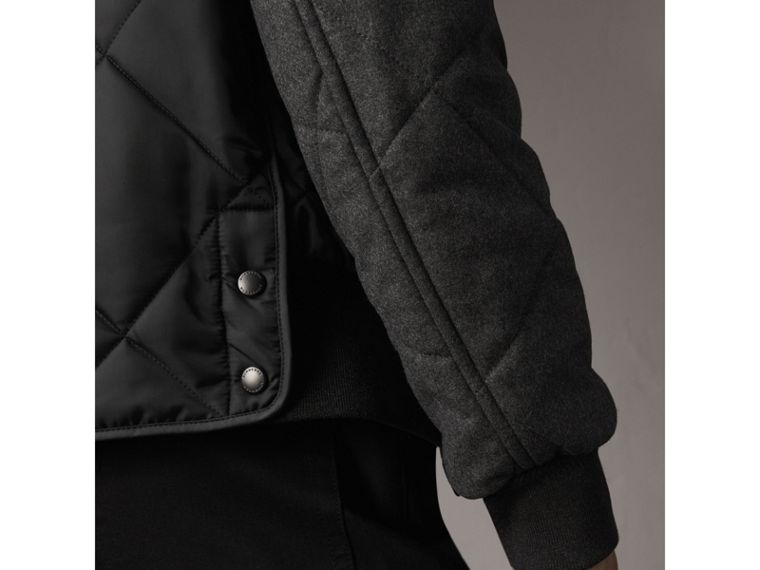 Packaway Hood Wool-sleeve Quilted Bomber Jacket in Black - Men | Burberry - cell image 4