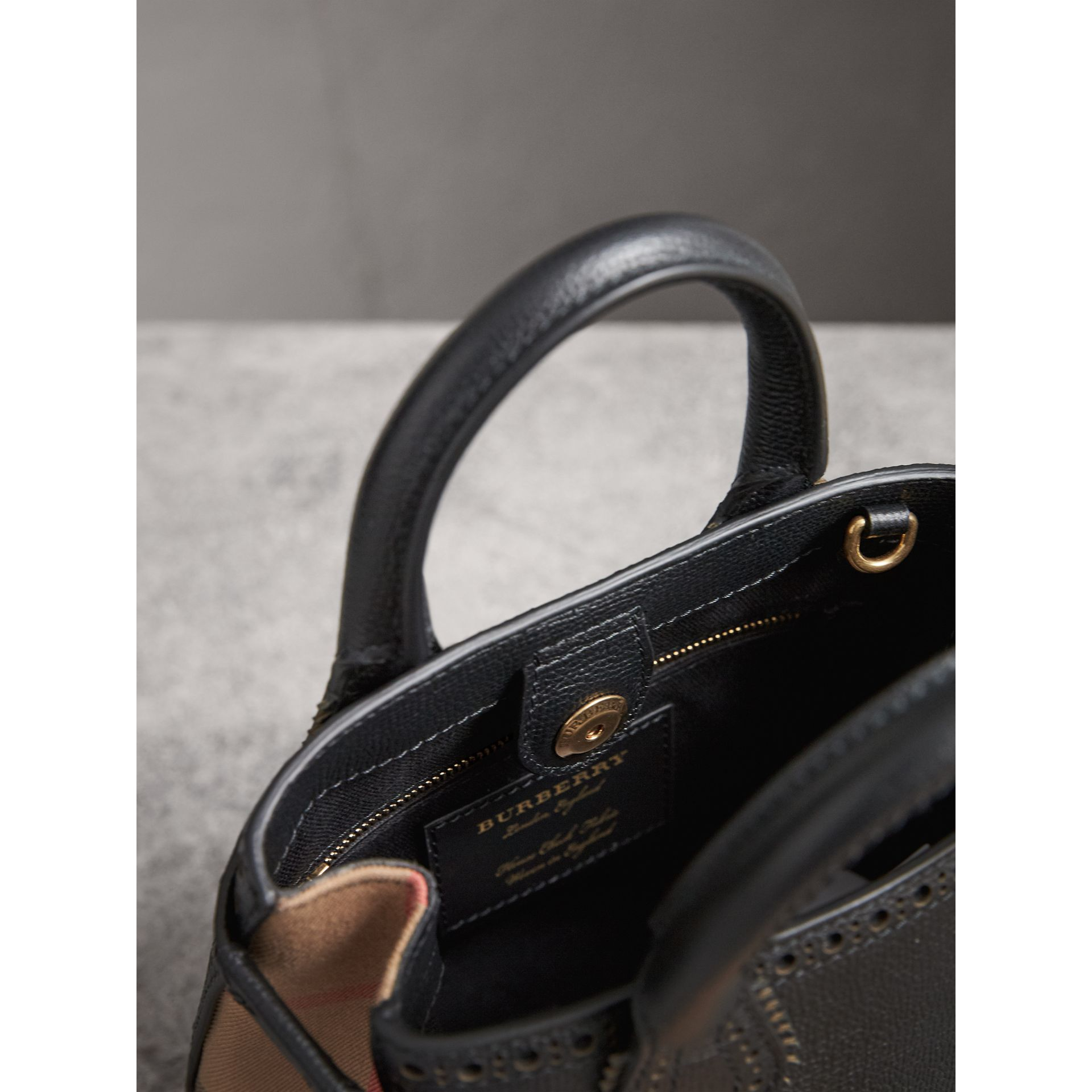 The Baby Banner in Brogue Detail Leather in Black - Women | Burberry United Kingdom - gallery image 5