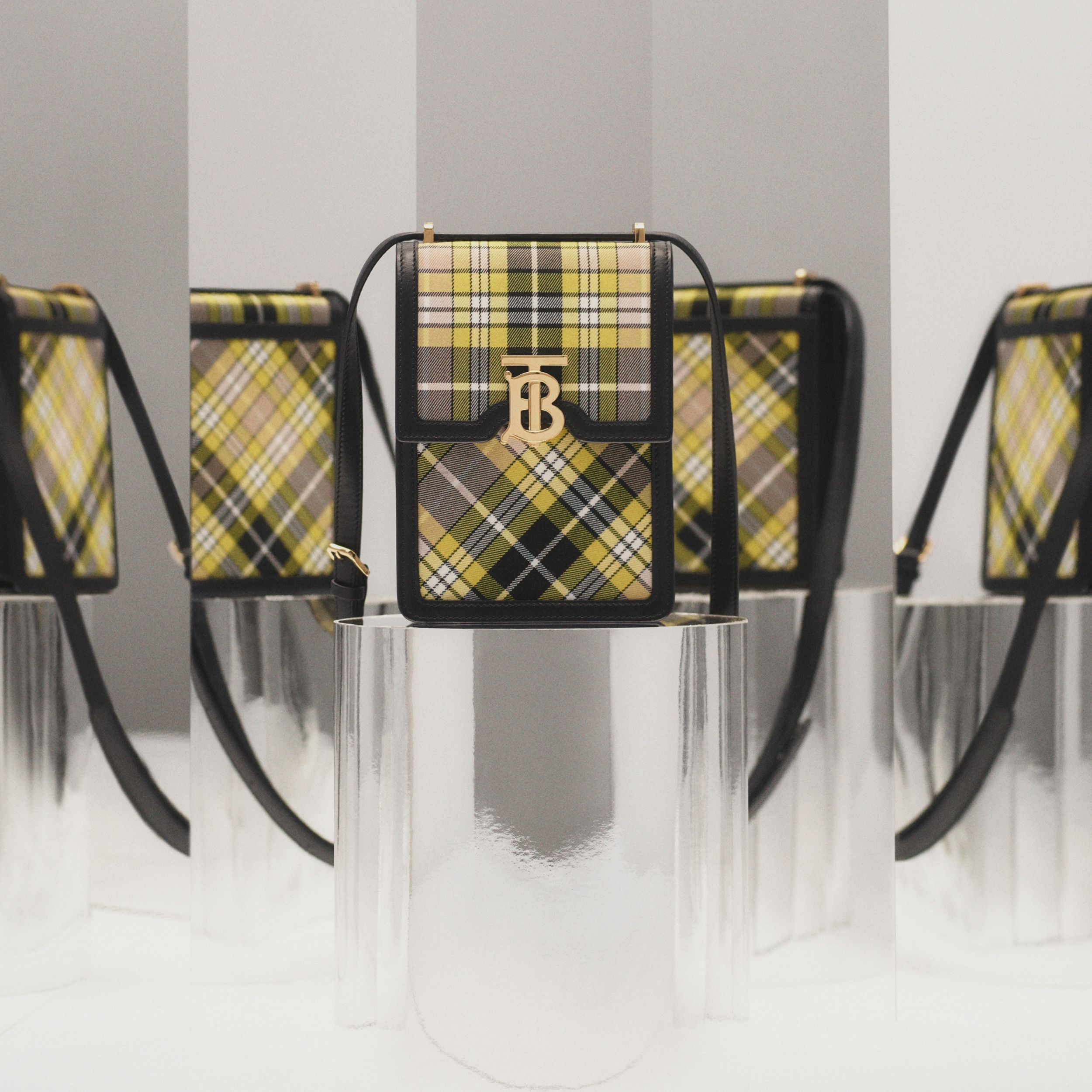 Tartan Cotton and Leather Robin Bag in Marigold Yellow - Women | Burberry - 2