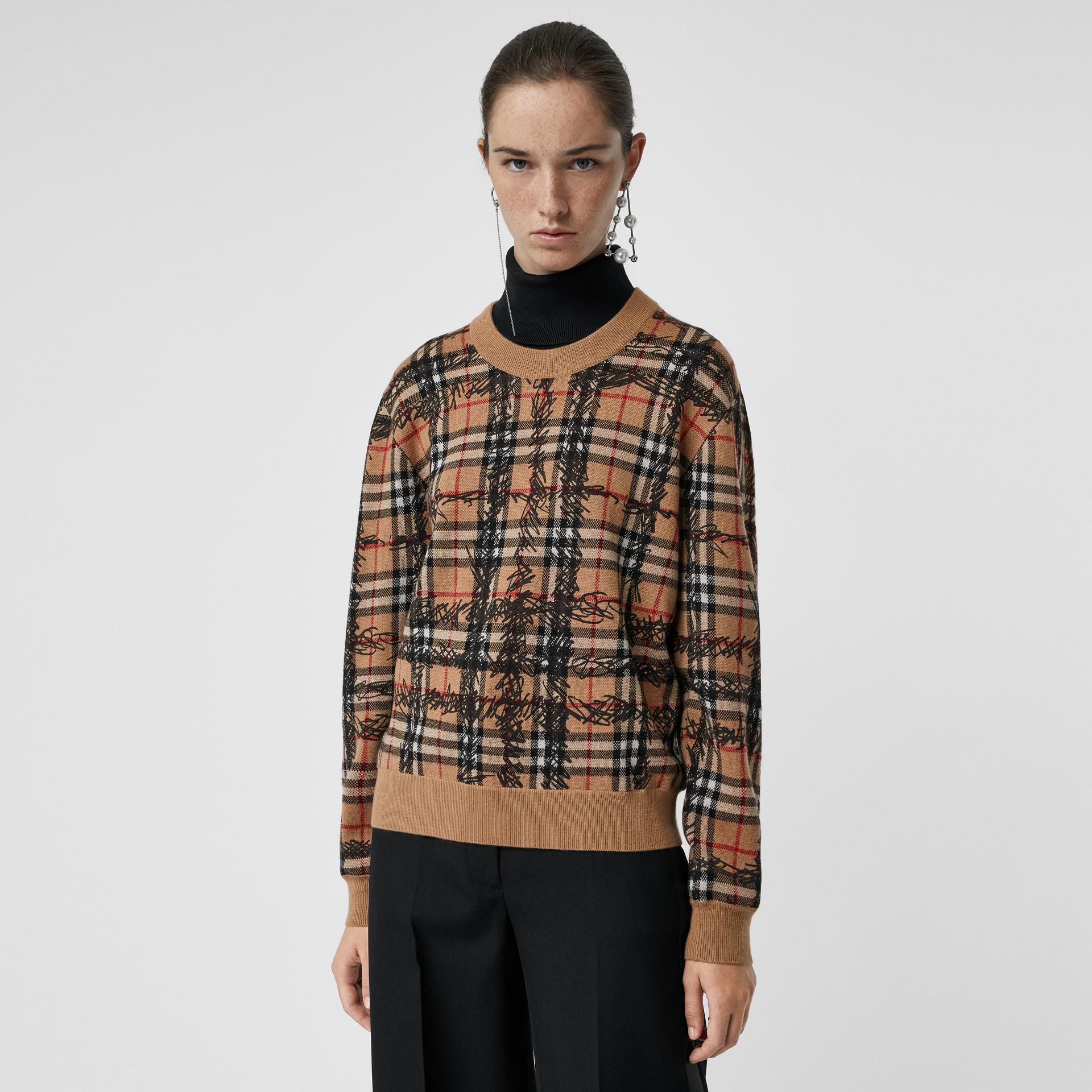 Scribble Check Merino Wool Sweater in Camel/black - Women | Burberry - gallery image 4