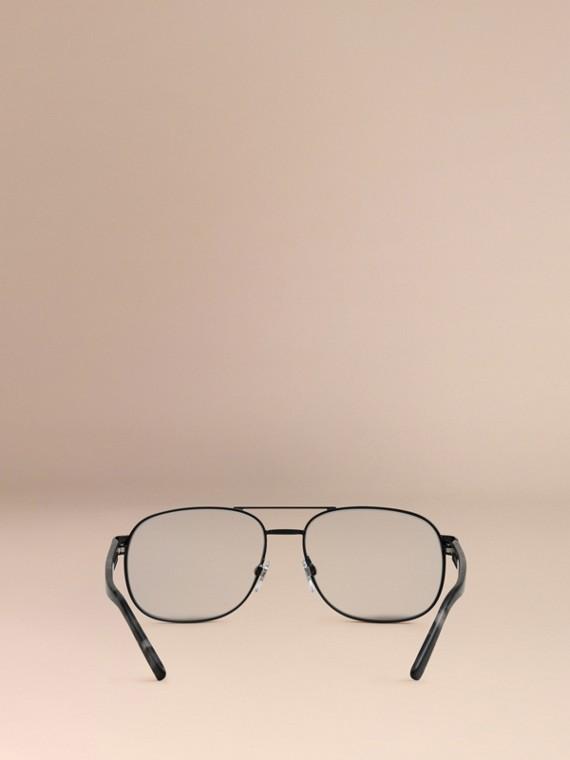 Negro mate Gafas de sol polarizadas de estilo aviador con montura cuadrada Negro Mate - cell image 3