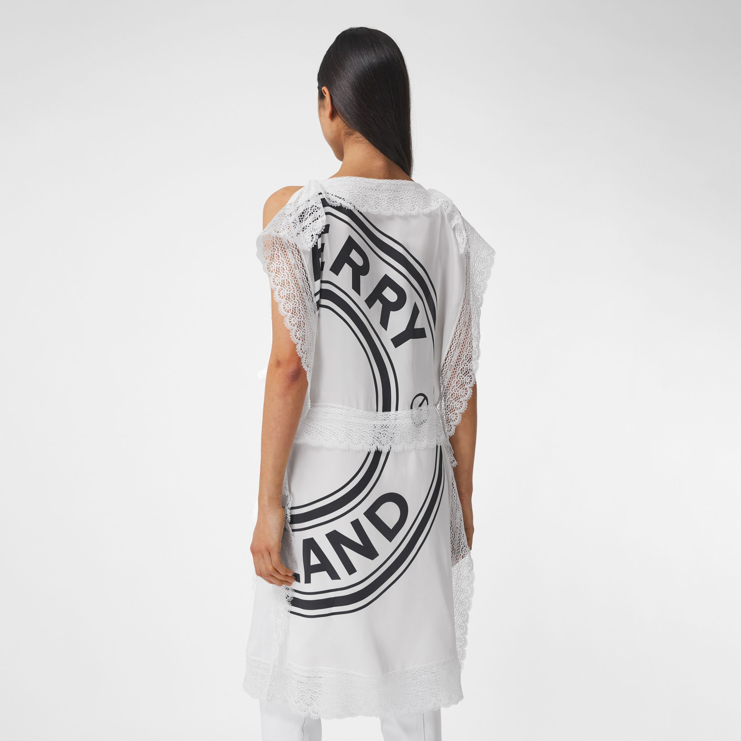 Lace Detail Logo Graphic Silk Dress in White/black - Women | Burberry United Kingdom - 3