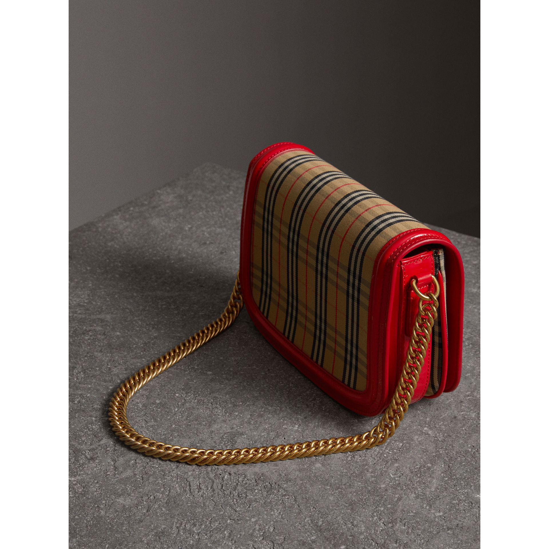 The 1983 Check Link Bag with Patent Trim in Bright Red - Women | Burberry United States - gallery image 4
